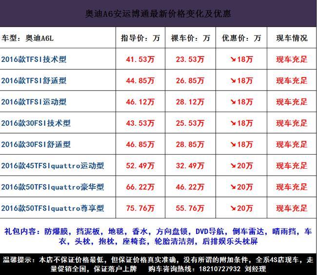 奥迪A6L报价及图片北京走量促销现车售全国